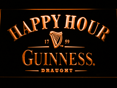 Guinness Draught Happy Hour LED Neon Sign - Orange - SafeSpecial