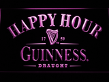 Guinness Draught Happy Hour LED Neon Sign - Purple - SafeSpecial