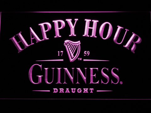 Image of Guinness Draught Happy Hour LED Neon Sign - Purple - SafeSpecial