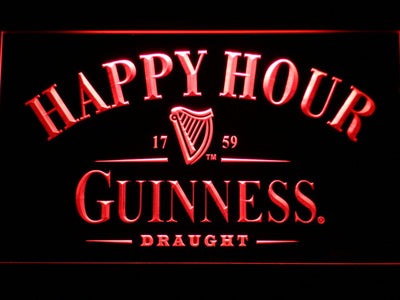 Guinness Draught Happy Hour LED Neon Sign - Red - SafeSpecial