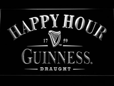 Guinness Draught Happy Hour LED Neon Sign - White - SafeSpecial