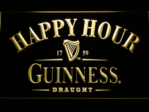 Image of Guinness Draught Happy Hour LED Neon Sign - Yellow - SafeSpecial