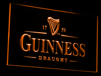 Guinness Draught LED Neon Sign - Orange - SafeSpecial