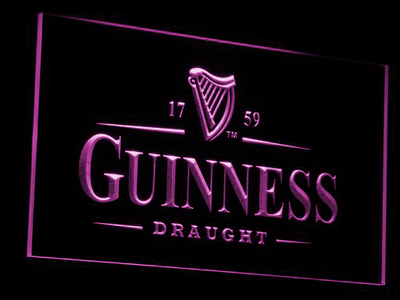 Guinness Draught LED Neon Sign - Purple - SafeSpecial