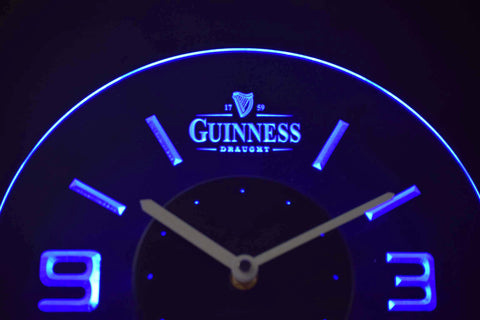 Image of Guinness Draught Modern LED Neon Wall Clock - Blue - SafeSpecial
