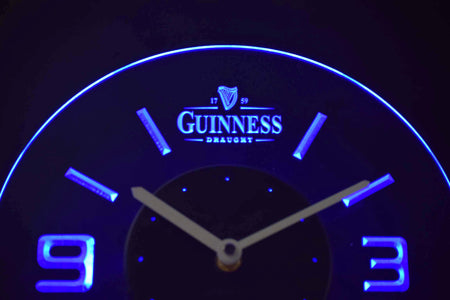 Guinness Draught Modern LED Neon Wall Clock - Blue - SafeSpecial