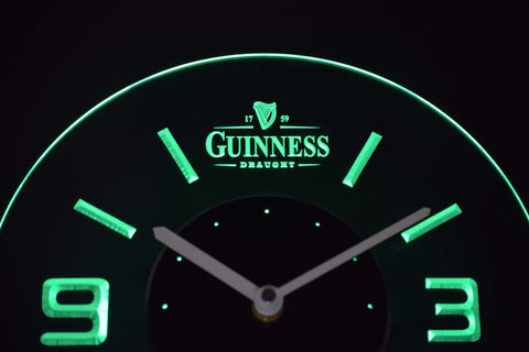 Image of Guinness Draught Modern LED Neon Wall Clock - Green - SafeSpecial
