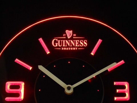 Image of Guinness Draught Modern LED Neon Wall Clock - Red - SafeSpecial