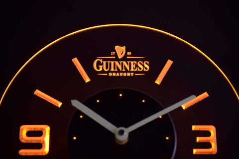 Image of Guinness Draught Modern LED Neon Wall Clock - Yellow - SafeSpecial