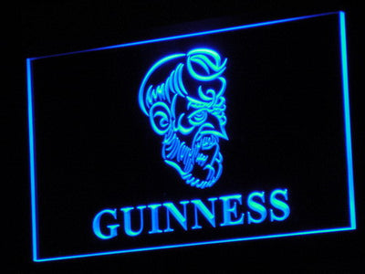 Guinness Old Man LED Neon Sign - Blue - SafeSpecial