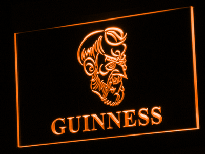 Guinness Old Man LED Neon Sign - Orange - SafeSpecial