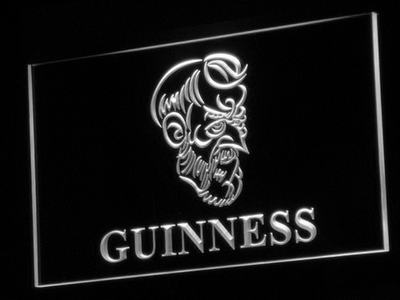 Guinness Old Man LED Neon Sign - White - SafeSpecial