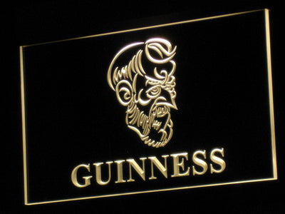 Guinness Old Man LED Neon Sign - Yellow - SafeSpecial