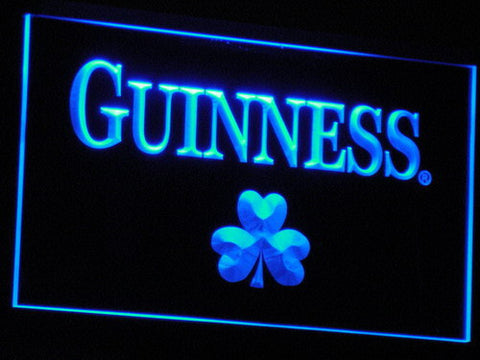 Guinness Shamrock LED Neon Sign - Blue - SafeSpecial