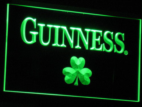 Image of Guinness Shamrock LED Neon Sign - Green - SafeSpecial
