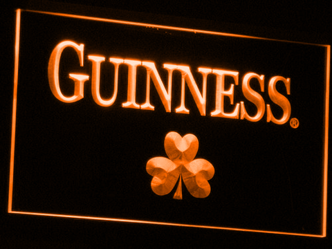 Guinness Shamrock LED Neon Sign - Orange - SafeSpecial