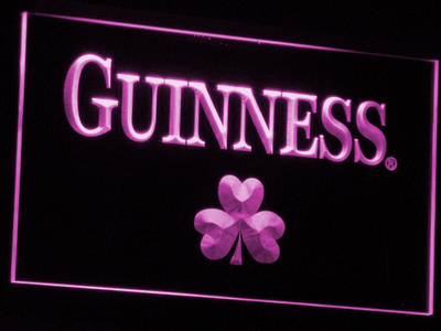 Guinness Shamrock LED Neon Sign - Purple - SafeSpecial