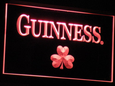 Guinness Shamrock LED Neon Sign - Red - SafeSpecial