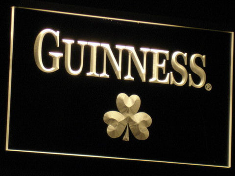 Image of Guinness Shamrock LED Neon Sign - Yellow - SafeSpecial