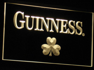 Guinness Shamrock LED Neon Sign - Yellow - SafeSpecial