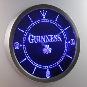 Guinness Shamrock LED Neon Wall Clock - Blue - SafeSpecial