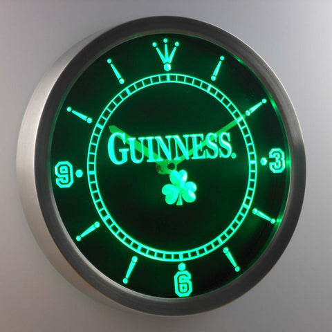 Guinness Shamrock LED Neon Wall Clock - Green - SafeSpecial
