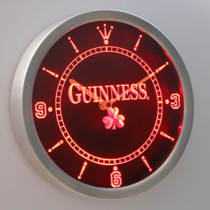 Guinness Shamrock LED Neon Wall Clock - Red - SafeSpecial