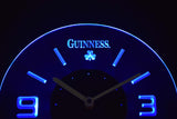 Guinness Shamrock Modern LED Neon Wall Clock - Blue - SafeSpecial