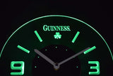Guinness Shamrock Modern LED Neon Wall Clock - Green - SafeSpecial