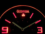 Guinness Shamrock Modern LED Neon Wall Clock - Red - SafeSpecial