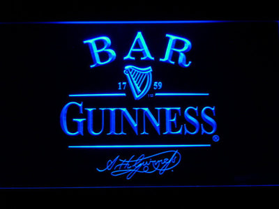 Guinness Signature Bar LED Neon Sign - Blue - SafeSpecial