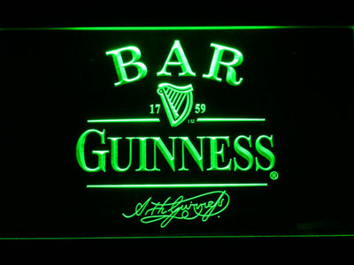 Guinness Signature Bar LED Neon Sign - Green - SafeSpecial