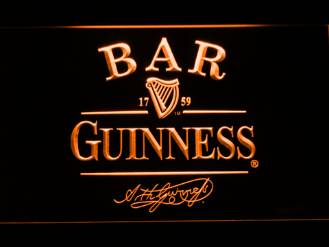 Guinness Signature Bar LED Neon Sign - Orange - SafeSpecial