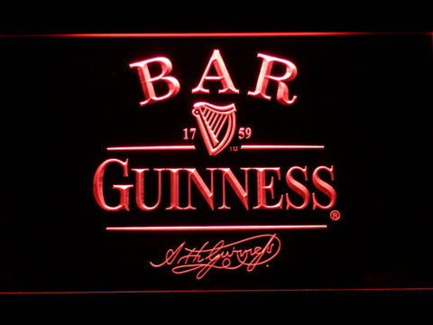 Guinness Signature Bar LED Neon Sign - Red - SafeSpecial