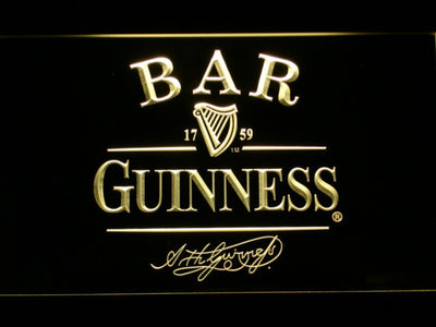 Guinness Signature Bar LED Neon Sign - Yellow - SafeSpecial