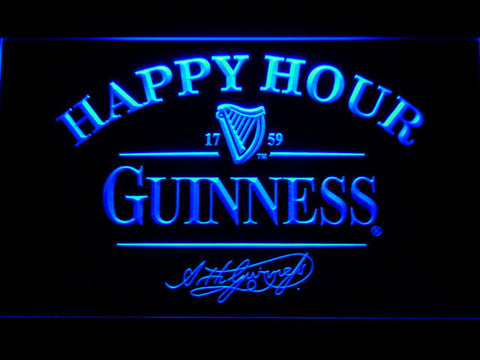 Image of Guinness Signature Happy Hour LED Neon Sign - Blue - SafeSpecial