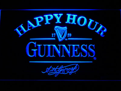 Guinness Signature Happy Hour LED Neon Sign - Blue - SafeSpecial