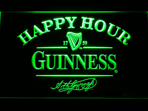 Image of Guinness Signature Happy Hour LED Neon Sign - Green - SafeSpecial