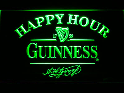 Guinness Signature Happy Hour LED Neon Sign - Green - SafeSpecial