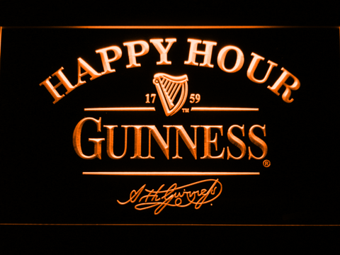 Image of Guinness Signature Happy Hour LED Neon Sign - Orange - SafeSpecial