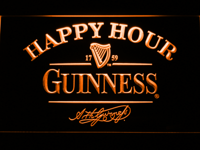Guinness Signature Happy Hour LED Neon Sign - Orange - SafeSpecial