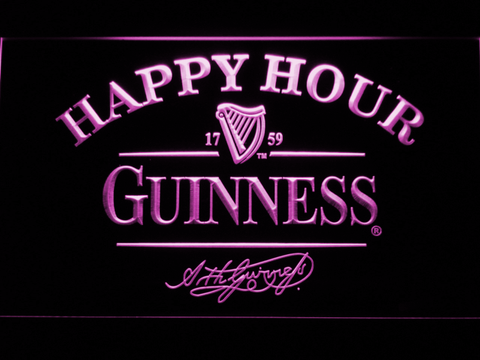 Image of Guinness Signature Happy Hour LED Neon Sign - Purple - SafeSpecial