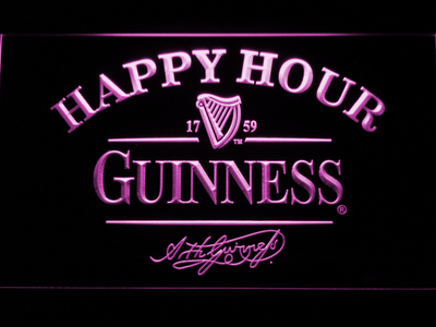 Guinness Signature Happy Hour LED Neon Sign - Purple - SafeSpecial