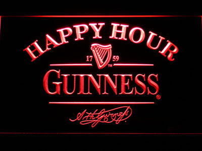 Guinness Signature Happy Hour LED Neon Sign - Red - SafeSpecial