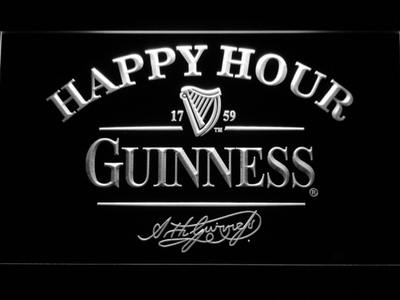 Guinness Signature Happy Hour LED Neon Sign - White - SafeSpecial