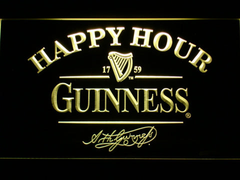 Image of Guinness Signature Happy Hour LED Neon Sign - Yellow - SafeSpecial