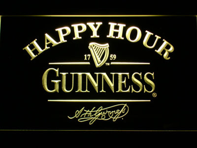 Guinness Signature Happy Hour LED Neon Sign - Yellow - SafeSpecial