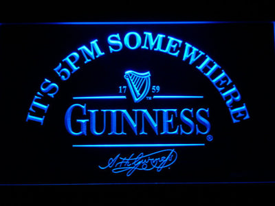 Guinness Signature It's 5pm Somewhere LED Neon Sign - Blue - SafeSpecial
