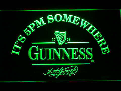 Image of Guinness Signature It's 5pm Somewhere LED Neon Sign - Green - SafeSpecial