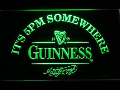 Guinness Signature It's 5pm Somewhere LED Neon Sign - Green - SafeSpecial
